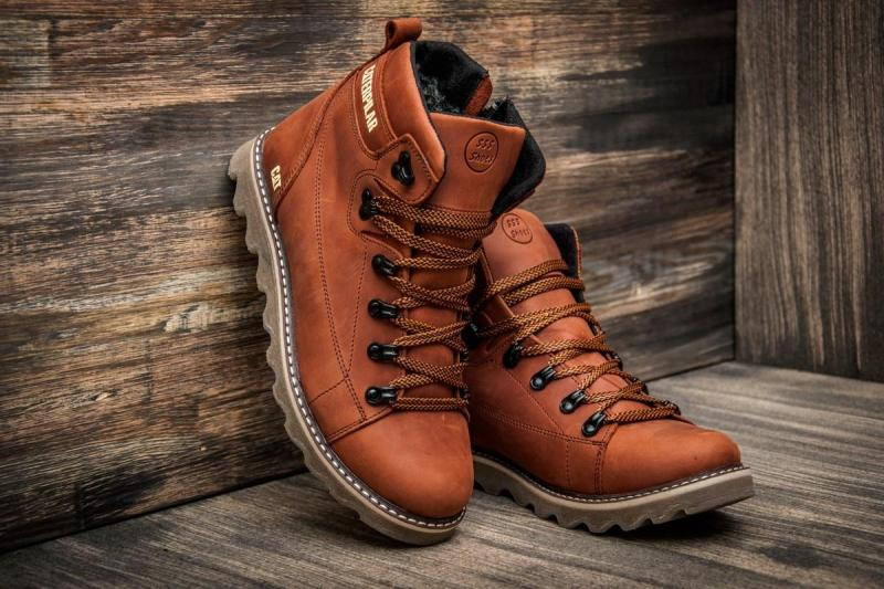 Зимние мужские кожаные коричневые ботинки Caterpillar. Харьков