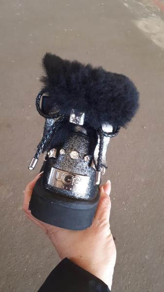 Фото Женская обувь, Зима, Угги, унты Натуральные UGG Australia цвет никель бантик. Украина