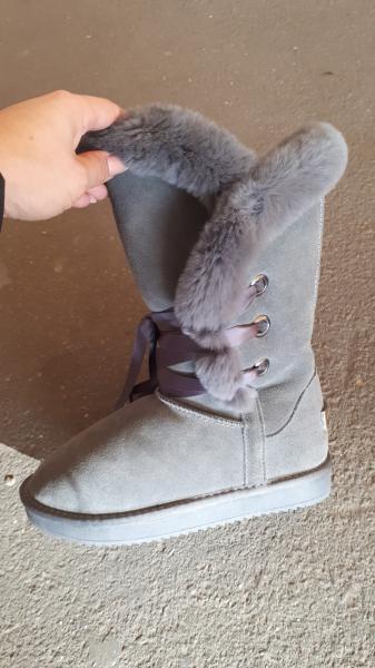 Фото Женская обувь, Зима, Угги, унты Натуральные замшевые UGG Australia высокие серые на шнурках. Украина