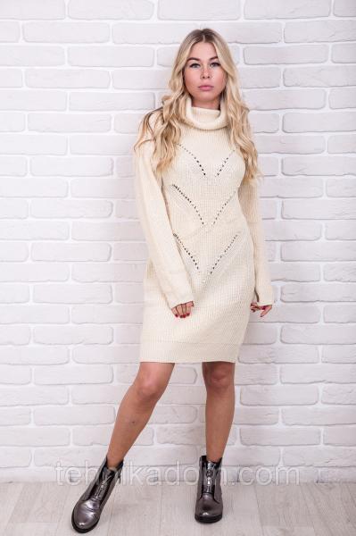 NsP Fashion Теплая туника с воротником-хомутом - кремовый цвет, S