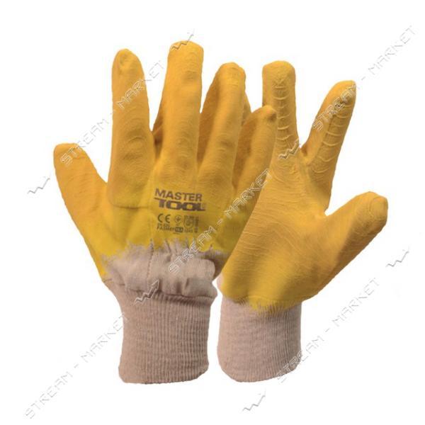 Перчатки MASTERTOOL 83-0601 стекольщика х/б с латексным ребристым покрытием усиленные желтые 10.5