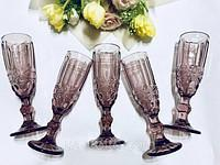 "Набор бокалов 6 шт для шампанского ""Винтаж"" розовых 180 мл, 34215-14-3"
