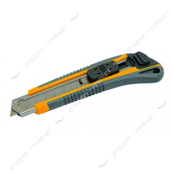 Нож MASTERTOOL 17-0183 18мм с метал. направляющей, кнопочный фиксатор 3 лезвия