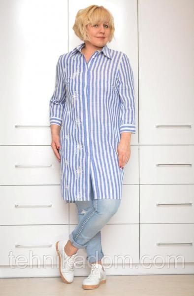 Рубашка лен с вышивкой - Модель 1645-1 (64р) (ф)