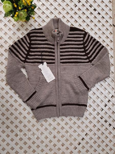 Детский теплый серый свитер для мальчика 110-140