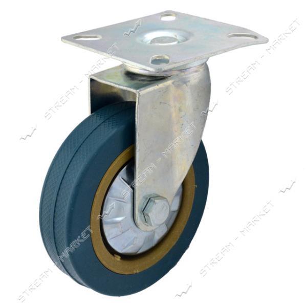 Ролик мебельный Резиновый плоский d75 мм с площадкой