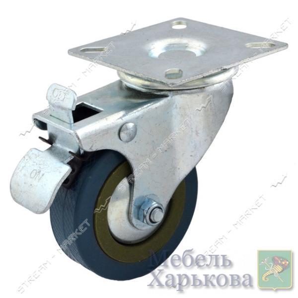 Ролик мебельный Резиновый плоский с тормозом d100м - Мебельные ролики и колеса в Харькове