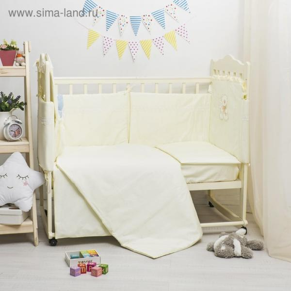 Комплект в кроватку ЭЛИТ 7 предметов, вышивка/кружево, велюр/сатин, цв лимон