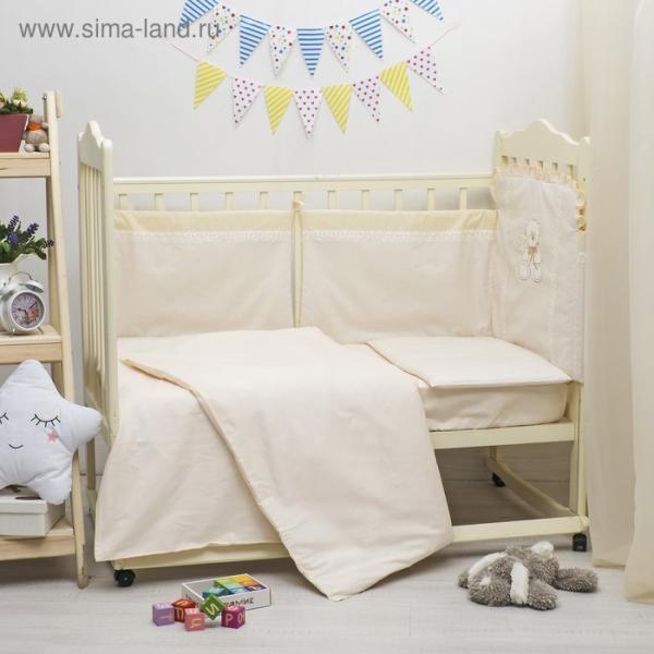 Комплект в кроватку ЭЛИТ 5 предметов, вышивка/кружево, велюр/бязь, цв беж