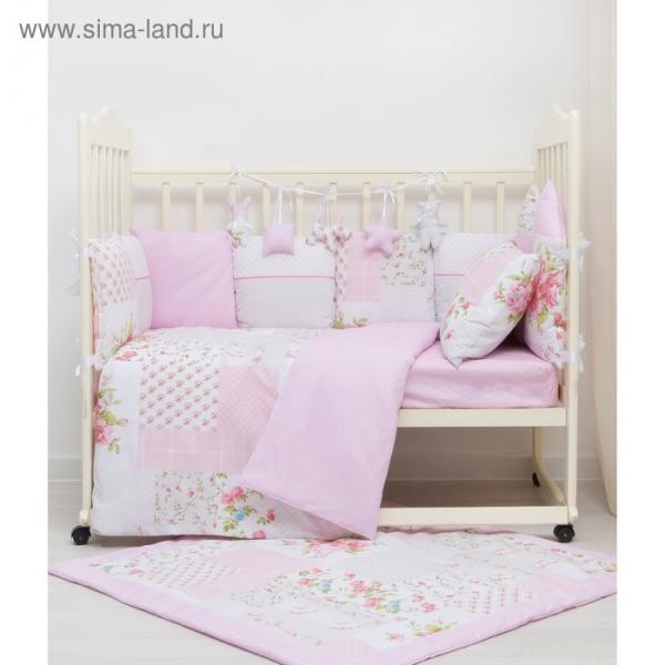 Комплект в кроватку ПРЕМИУМ Цветочки пэчворк, 22 предмета, цв розовый, бязь