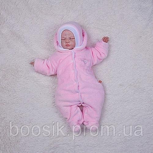 """Комбинезон велюровый для новорожденных """"Baby Brilliant"""" на махре (розовый) р.56-68"""