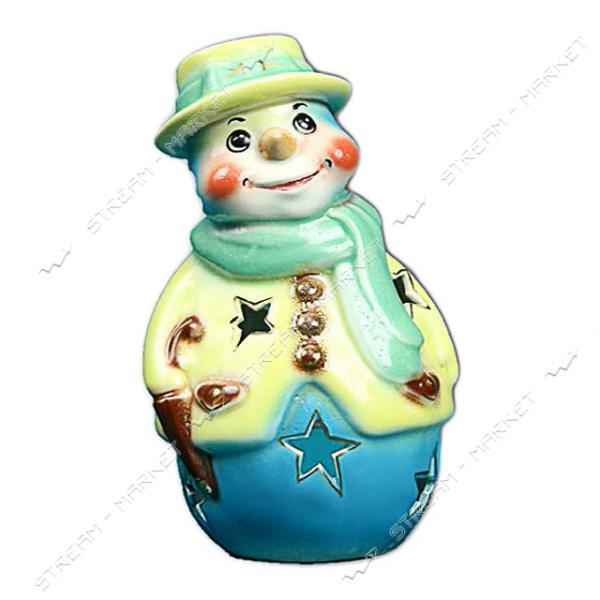 Подсвечник керамический Снеговик