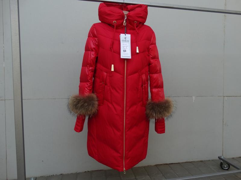 Комбинированный  пуховик с мехом на рукавах Peercat 18-911 Красный, 2XL