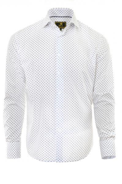 Фото Мужские рубашки Рубашка мужская Michael Schaft Белая с контрастным принтом