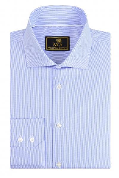 Рубашка мужская Michael Schaft Белая с мелкой голубой фактурной полосой Slim Fit