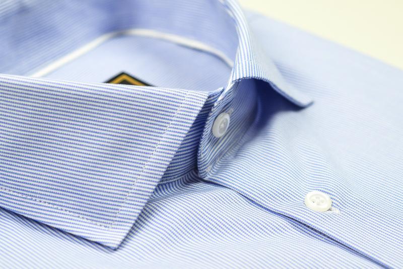 Фото Мужские рубашки Рубашка мужская Michael Schaft Белая с мелкой голубой фактурной полосой Slim Fit
