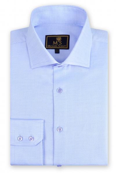 """Рубашка мужская Michael Schaft Голубая """"мелкая рогожка"""" Slim Fit"""