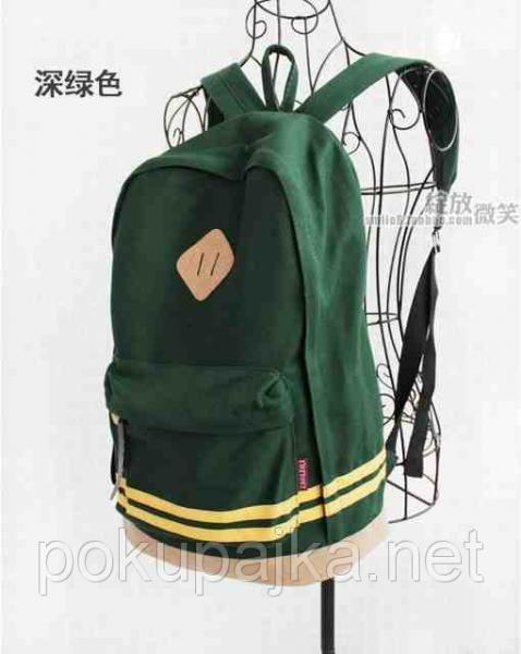 В Наличии Стильный Молодёжный Рюкзак цвет тёмно-зелёный,,высококачественный ,фабричный