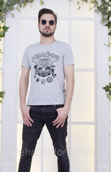 Серая футболка мужская с принтом