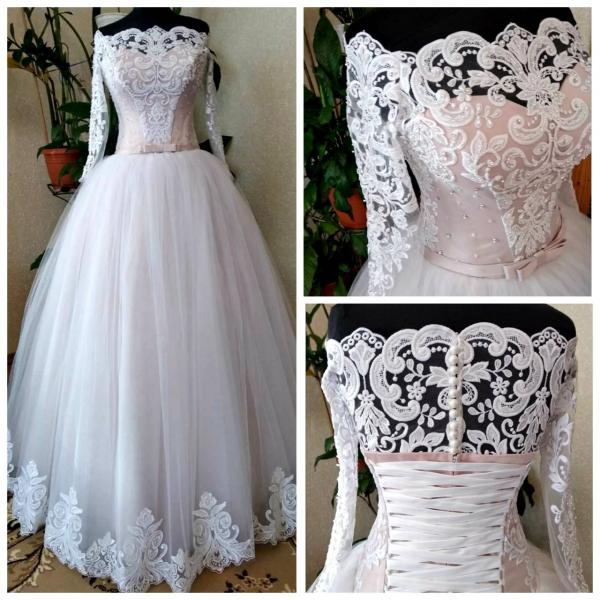 Пышное цветное свадебное платье с кружевными рукавами Зефир