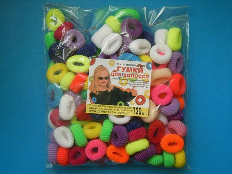 Резиночка  Калуш   маленькая 1,8 - 2 см. ( для  хвостиков) , цветная  в  смешении .  Упаковка  120 шт.