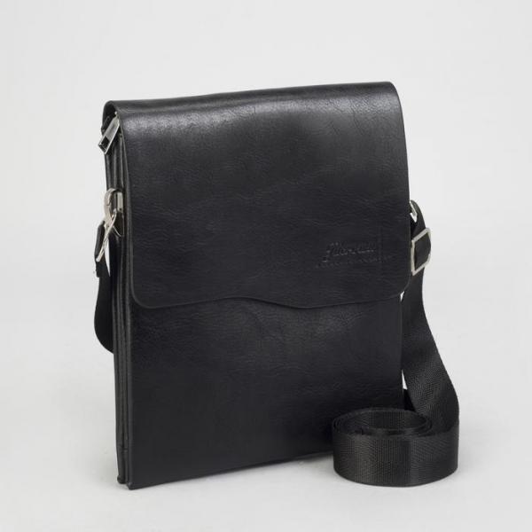 Планшет мужской, 3 отдела на молниях, 2 наружных кармана, длинный ремень, цвет чёрный