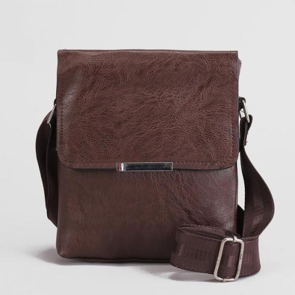 Планшет мужской, 1 отдел, 3 наружных кармана, длинный ремень, цвет кофе