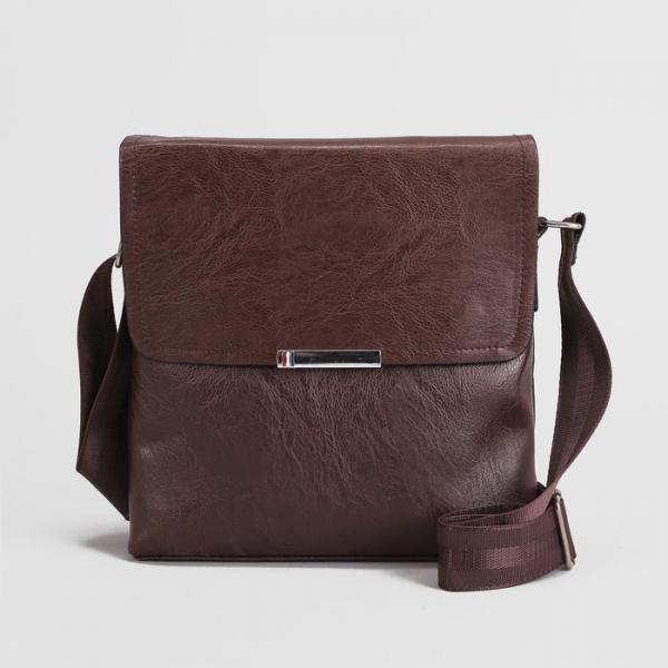 Планшет мужской, 1 отдел, 2 наружных кармана, длинный ремень, цвет кофе