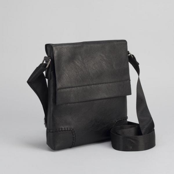 Планшет мужской, 1 отдел, 2 наружных кармана, регулируемый ремень, чёрный
