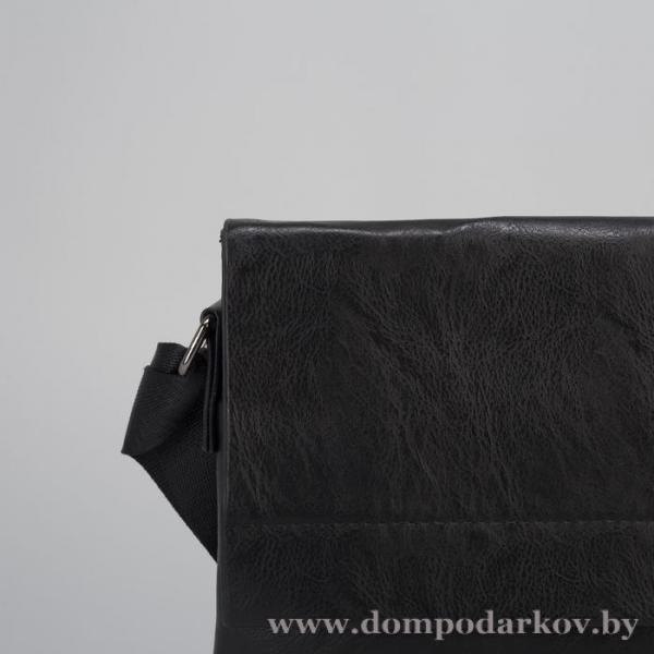Фото Подарки на Новый год 2020 Планшет мужской, 1 отдел, 2 наружных кармана, регулируемый ремень, чёрный
