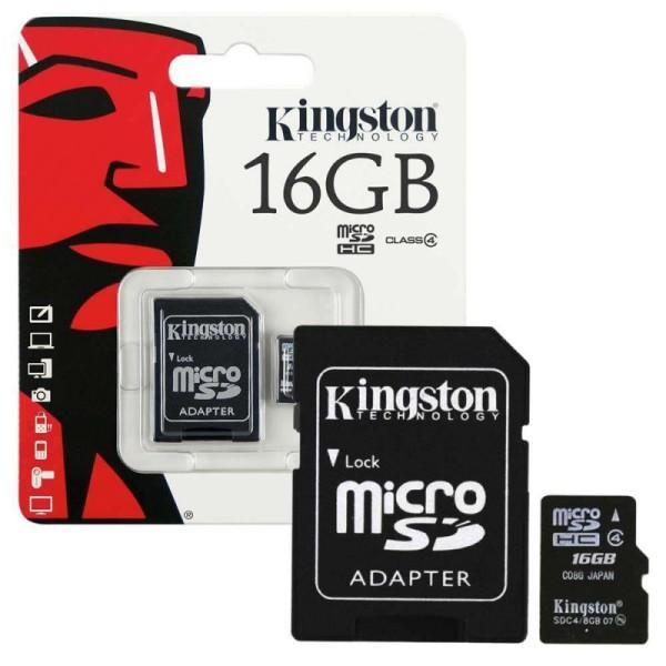 Карта памяти Kingston на 16 Гб microSD + картридер