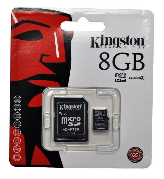 Карта памяти Kingston на 8 Гб microSD + картридер