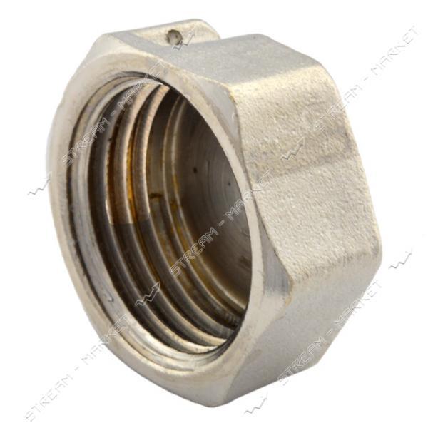 Заглушка N08764 латунь 1/2'В под пломбу никелированная (штамповка)