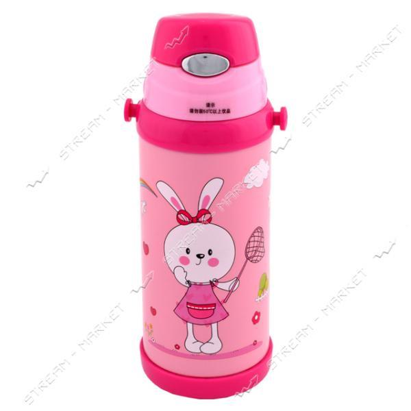 Термос детский LeEco KH-9008 0.35 л Розовый с кнопкой