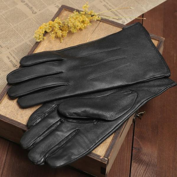 Перчатки мужские, 3 полоски, подклад, р-р 11, длина-25см, цвет чёрный