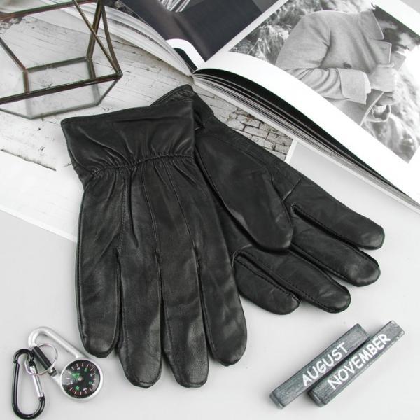 Перчатки мужские, подклад флис, размер 10, цвет чёрный