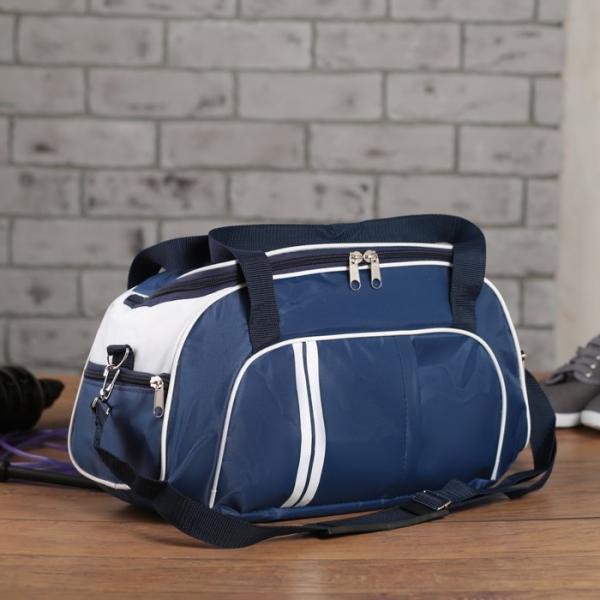 Сумка спортивная, отдел на молнии, 3 наружных кармана, длинный ремень, цвет синий/белый