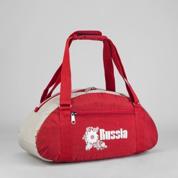 Сумка спортивная, отдел на молнии, наружный карман, цвет красный/серый