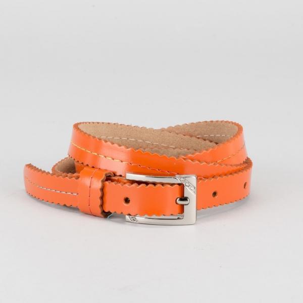 """Ремень женский """"Волна"""", винт, пряжка - металл, ширина 1,5см, цвет оранжевый"""