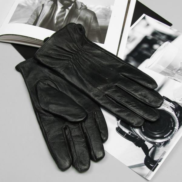 Перчатки мужские, подклад - флис, размер 11, цвет чёрный