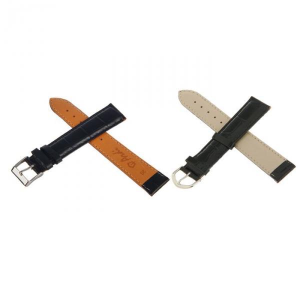 ремешок для часов, мужской, 20 мм, фактура крокодил, черный, удлиненный, микс