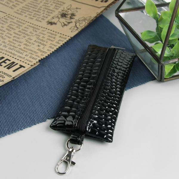 Ключница на молнии, металлическое кольцо, карабин, чёрная рептилия