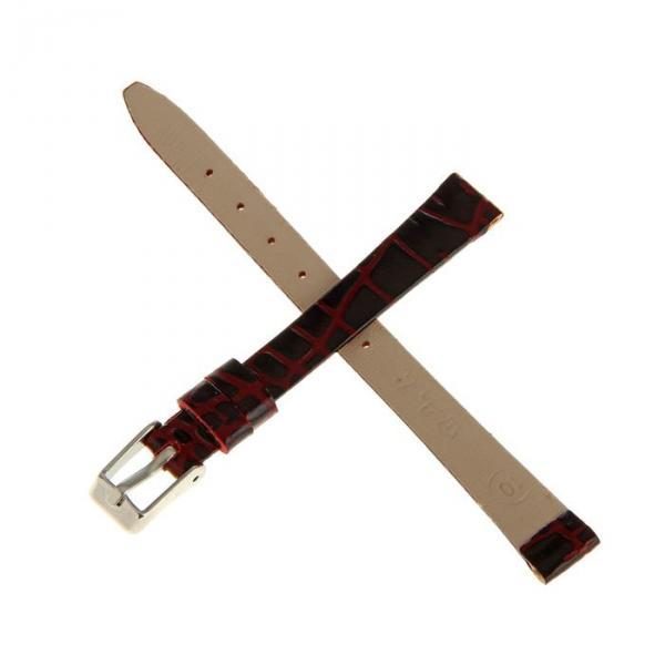 Ремешок для часов, женский, 10 мм, натуральная кожа, фактура анаконда, бордо