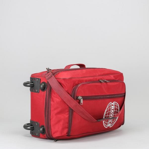 Сумка дорожная на колёсах, с расширением, отдел на молнии, длинный ремень, наружный карман, цвет бордовый