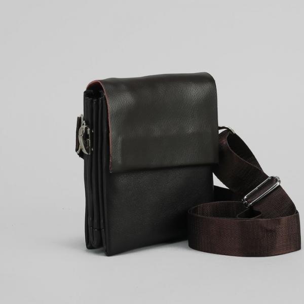 Планшет мужской, 3 отдела, 2 наружных кармана длинный ремень, цвет тёмно-коричневый