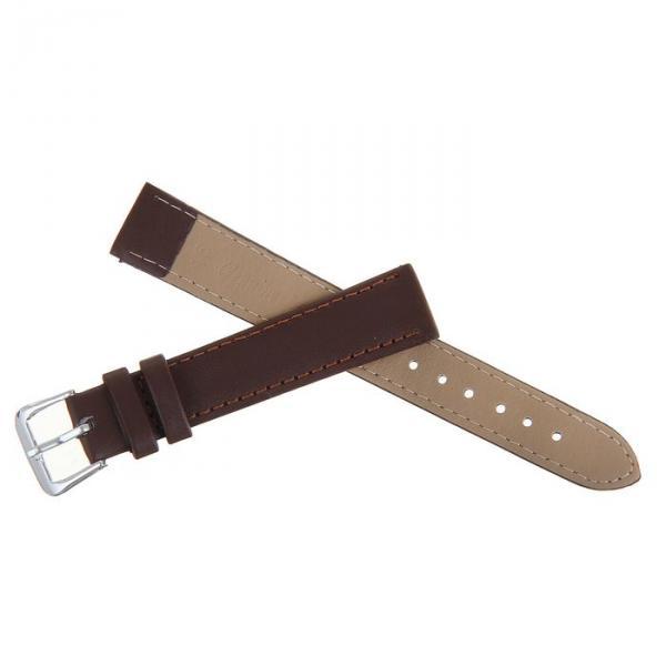Ремешок для часов, 16мм, натуральная кожа, коричневая, 19см