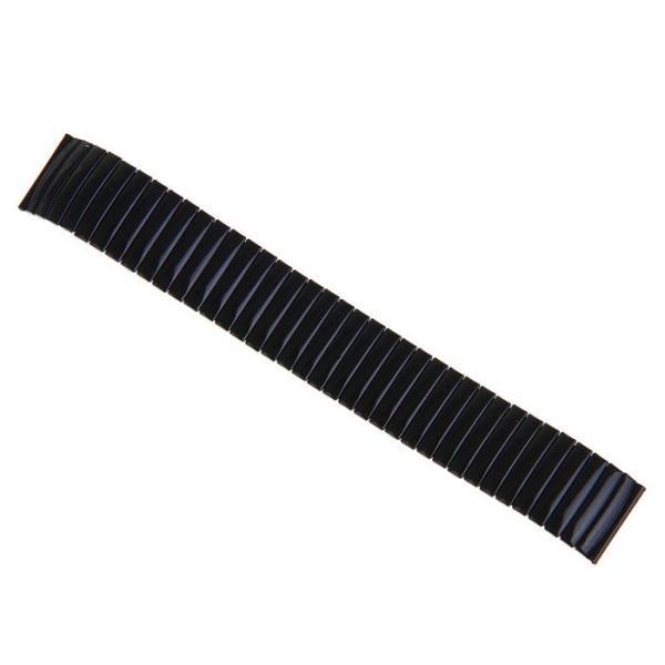 Ремешок для часов 12 мм, металл, протектор звенья объёмные, чёрный хром, 15.5 см