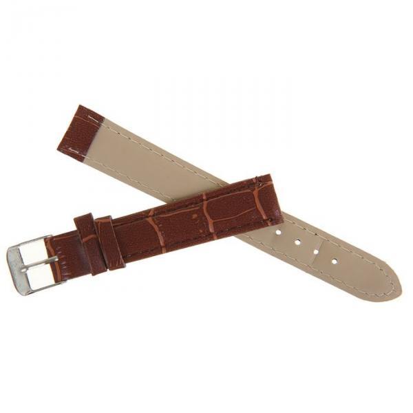 Ремешок для часов, 16мм, экокожа, фактура рептилия, коричневый, 19см