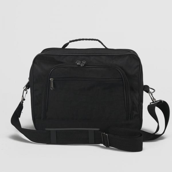 Сумка мужская на молнии, 1 отдел, 2 наружных кармана, длинный ремень, цвет чёрный
