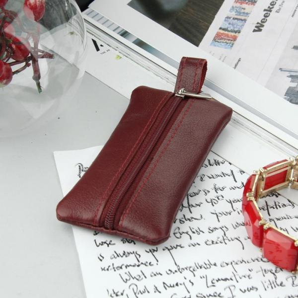Ключница на молнии, металлическое кольцо, цвет бордовый